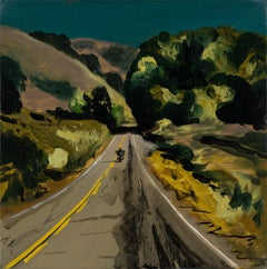 THE ROAD TO MALIBU - Expressive, Colourful USA Landscape Oil Painting, Biker