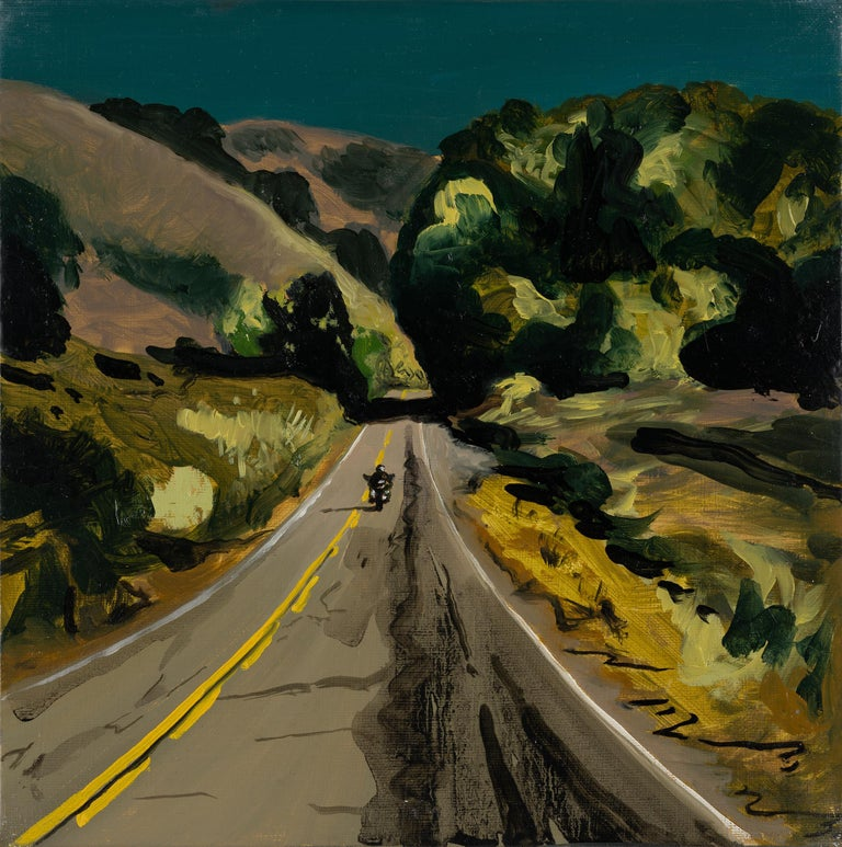 Piotr Szczur Landscape Painting - THE ROAD TO MALIBU - Expressive, Colourful USA Landscape Oil Painting, Biker