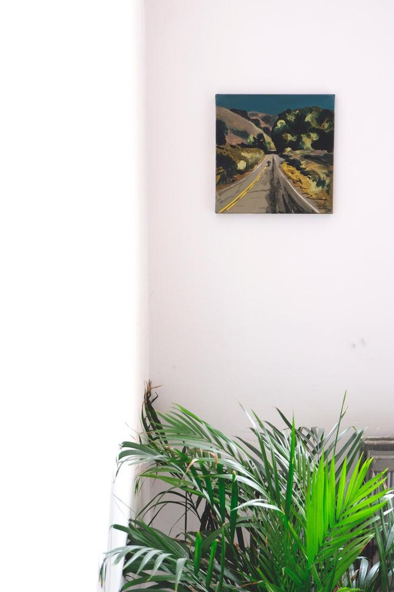 THE ROAD TO MALIBU - Expressive, Colourful USA Landscape Oil Painting, Biker - Black Landscape Painting by Piotr Szczur