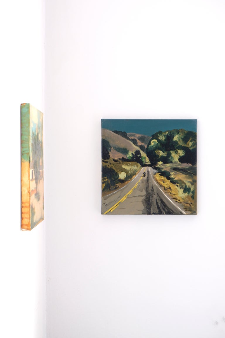 THE ROAD TO MALIBU - Expressive, Colourful USA Landscape Oil Painting, Biker For Sale 1