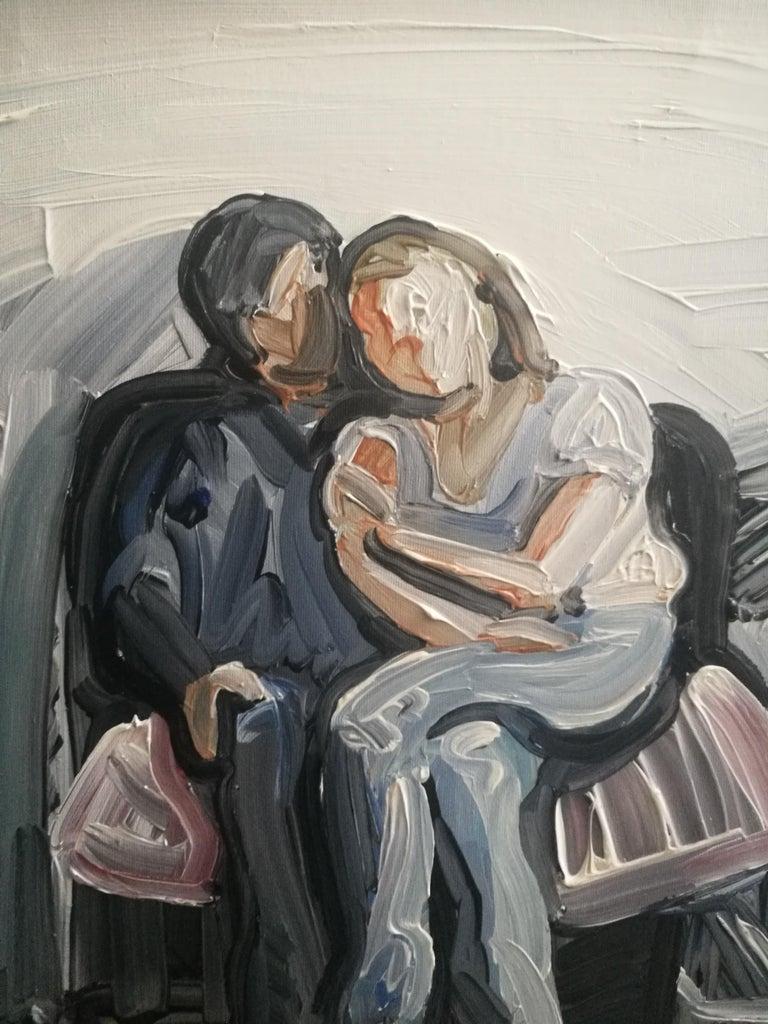 Ewa and Grzes - Couple Portrait, Contemporary Expressive Figurative Oil Painting - Gray Portrait Painting by Bartosz Kolata