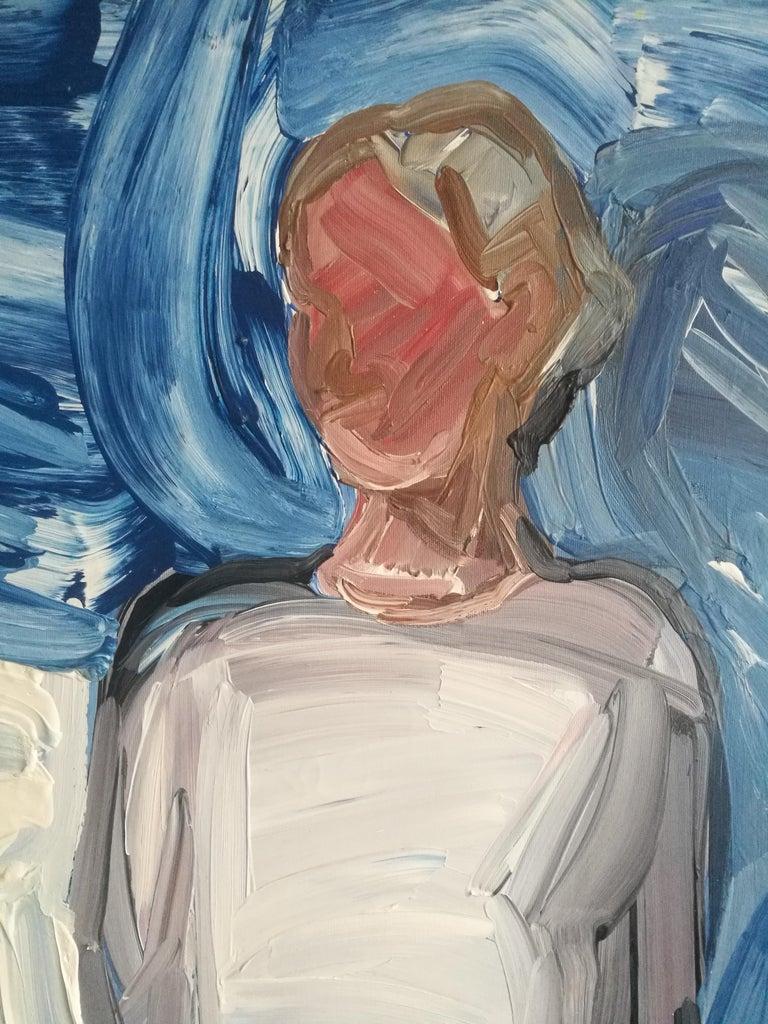 Ewa  - Woman Portrait, Contemporary Expressive Figurative Oil Painting - Gray Figurative Painting by Bartosz Kolata