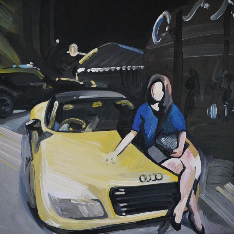 Bartosz Kolata Portrait Painting - Grande Odalisque - Woman Portrait With Car,  Expressive Figurative Oil Painting