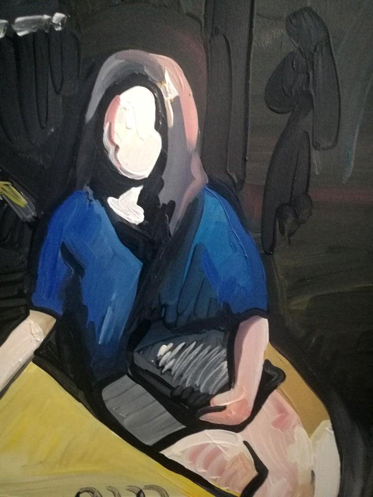Grande Odalisque - Woman Portrait With Car,  Expressive Figurative Oil Painting - Black Portrait Painting by Bartosz Kolata