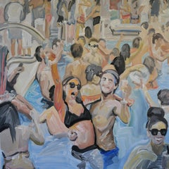 Pool Party - Modern Expressive, Figurative Oil Painting, Swimming Pool Scene