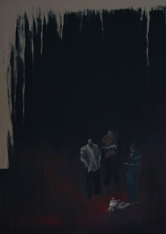 Untitled  7 - Series Final Fantasy, Minutiae Modern Figurative Painting with Dog