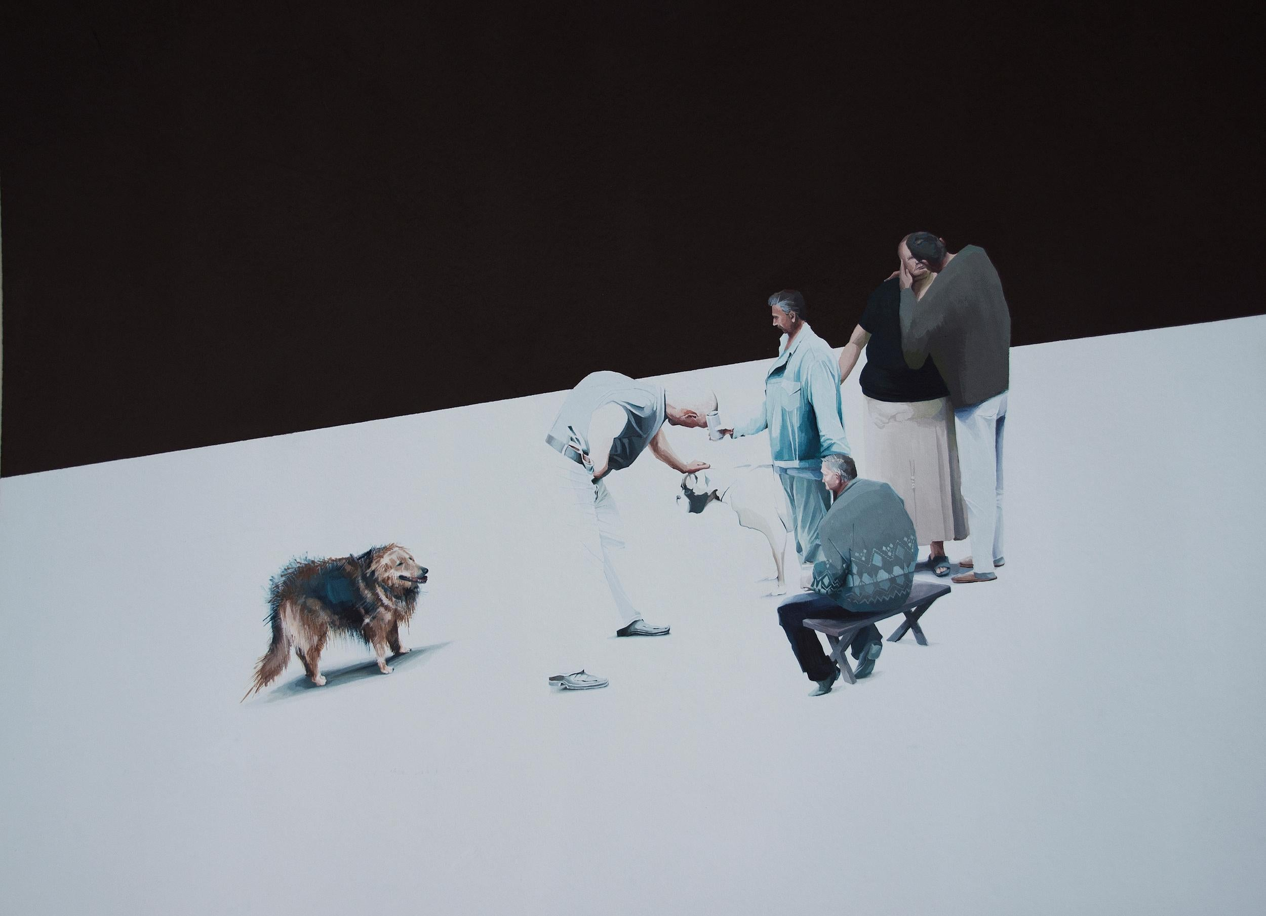 Untitled  5 - Series Final Fantasy, Modern Figurative Painting With Dogs