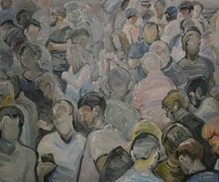 Crowd - People Portrait, Large Contemporary Expressive Figurative Oil Painting