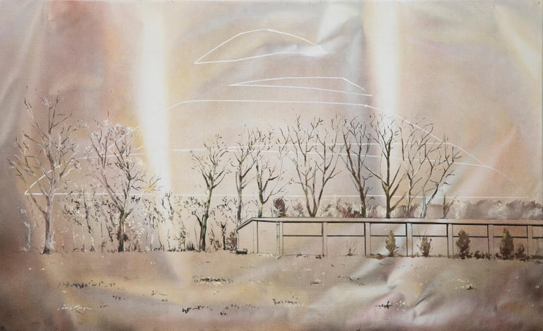 Bogumił Książek  Landscape Painting -  Landing of the Piłsudski Mound - Contemporary Figurative Painting, Warm Colours