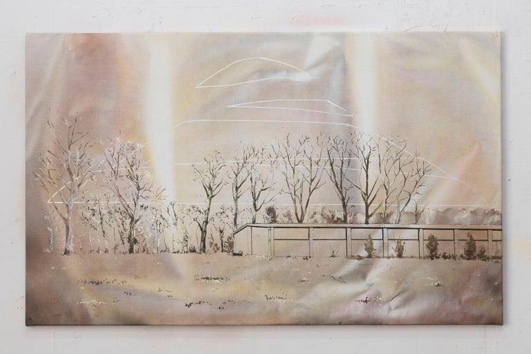 Landing of the Piłsudski Mound - Contemporary Figurative Painting, Warm Colours - Brown Landscape Painting by Bogumił Książek