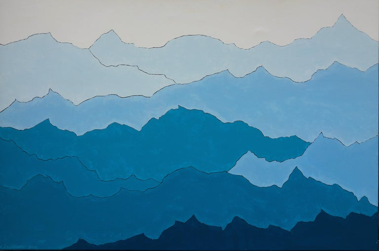 Jakub Żeligowski Figurative Painting - Mountains. Maybe The Sea, Maybe The Clouds - Contemporary  Nature Oil Painting
