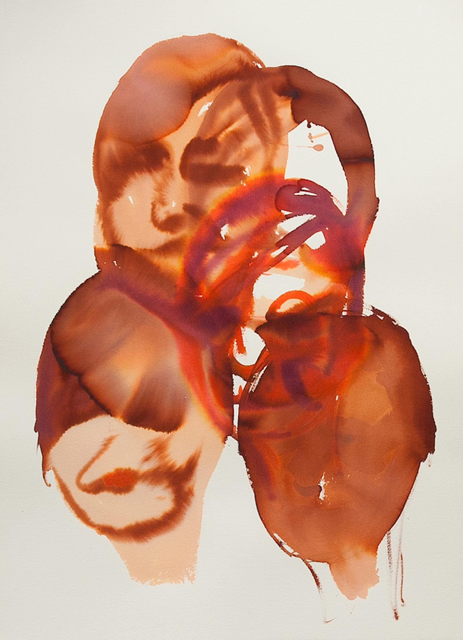 The Head Of A Woman Echo - Figurative Watercolor Painting, New Expressionism