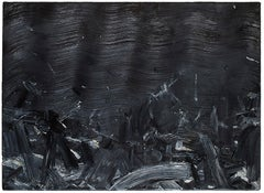 Untitled / Black- Contemporary Abstract Oil Painting, Minimalistic, Color Field