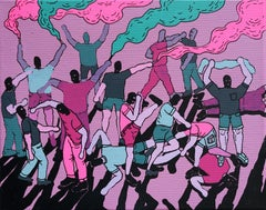 Street Fight - Polish Young Art, Contemporary Figurative Painting, Street Art