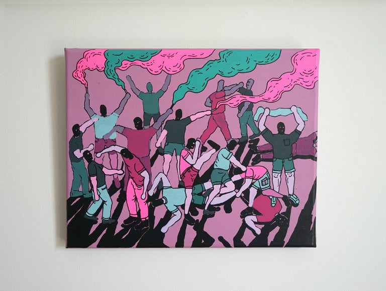 Street Fight - Polish Young Art, Contemporary Figurative Painting, Street Art For Sale 1