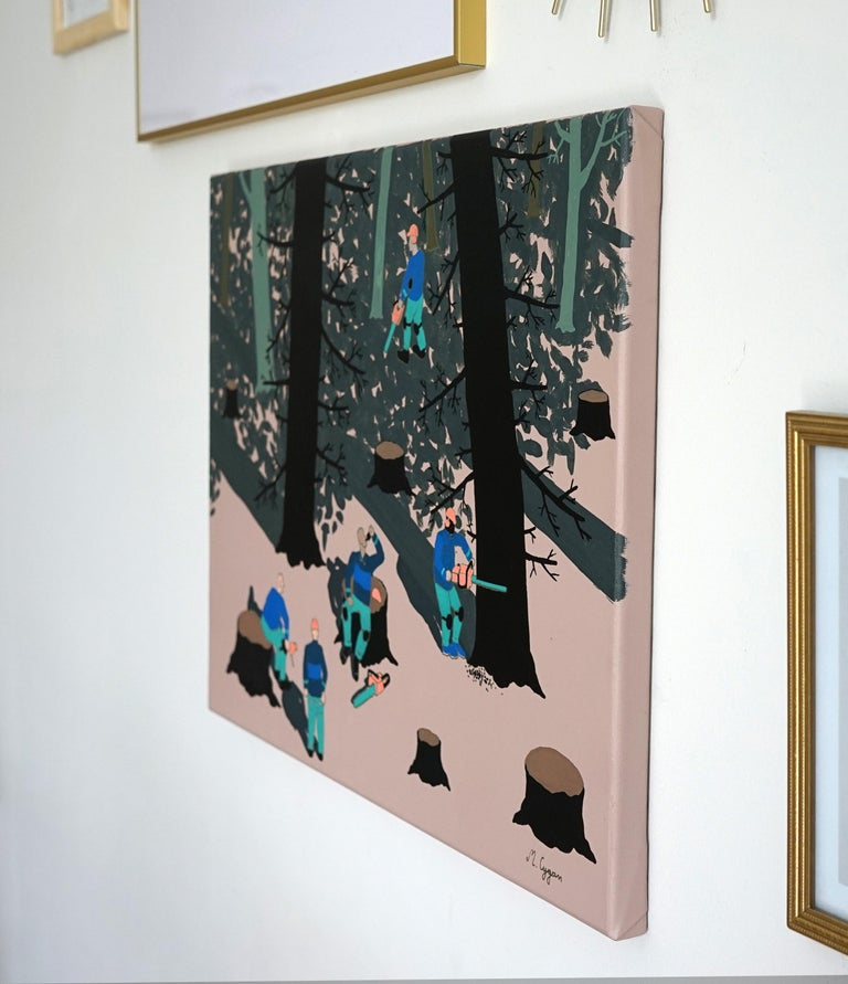 The Forest - Polish Young Art, Contemporary Figurative Painting, Street Art - Black Landscape Painting by Michał Cygan