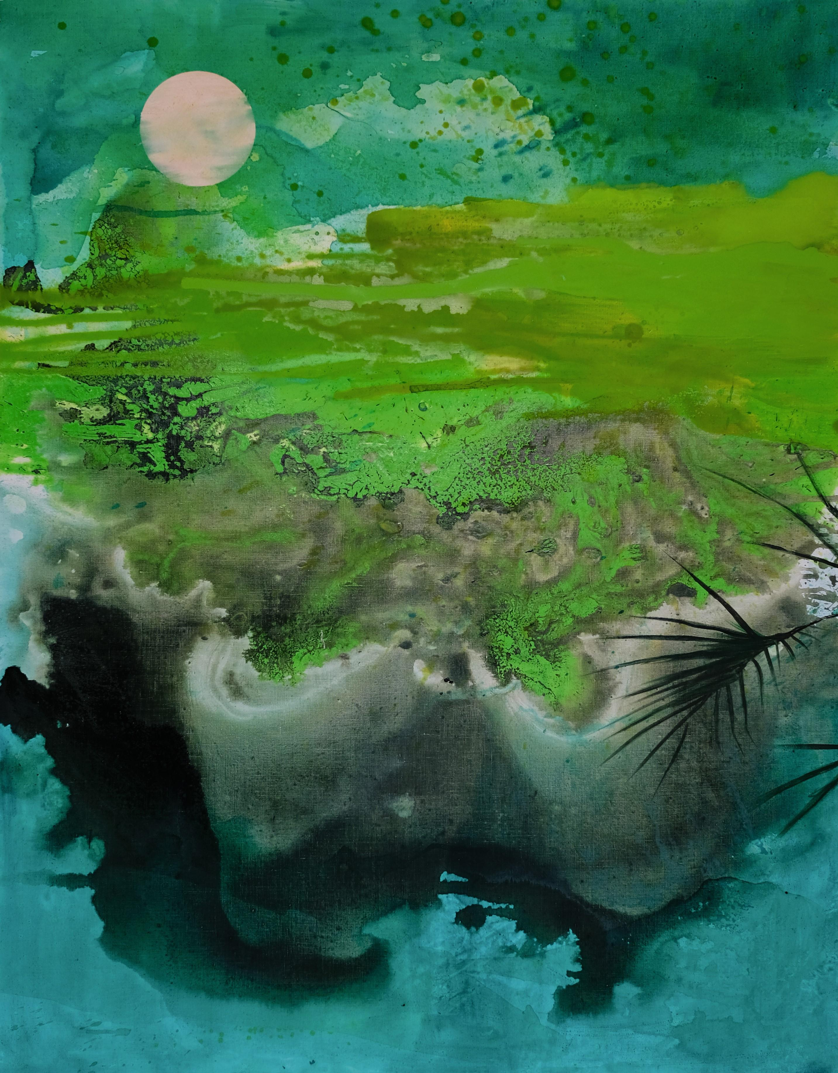 May - Modern Landscape Oil Painting, Lake View, Expression, Nature, Green Tones