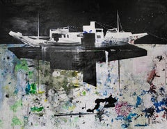 The Boat - Large Format, Contemporary Landscape Painting, Abstract Sea View