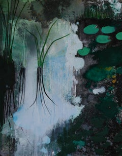 Plants In Water - Modern Landscape Oil Painting, Lake View, Nature, Green Tones