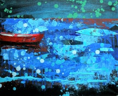 Red Boat - Modern Landscape Painting, Lake View, Nature, Blue Tones, Expression