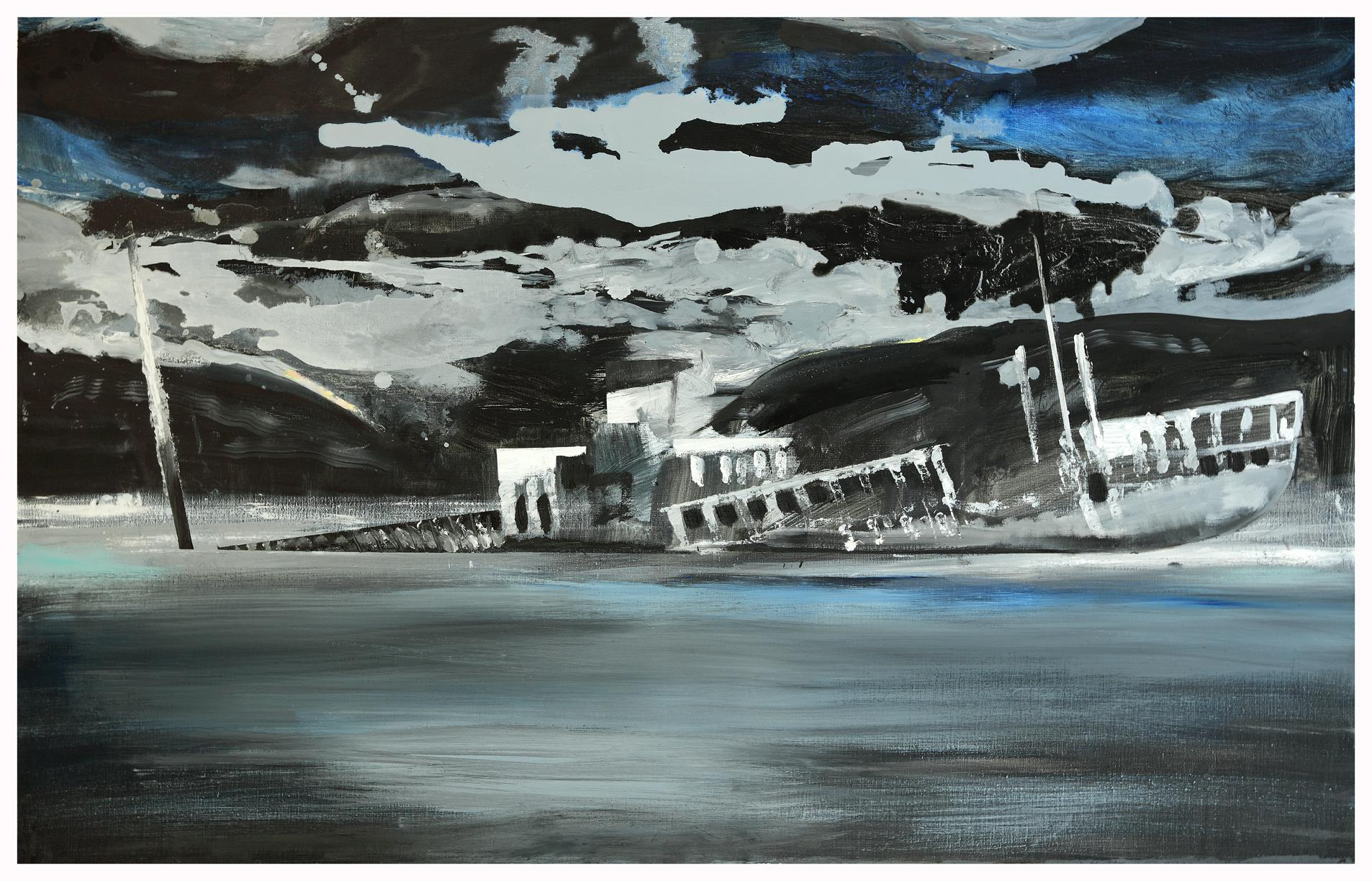Ship Wreck -  Contemporary Oil Landscape Painting , Sea View, Nature, Expression