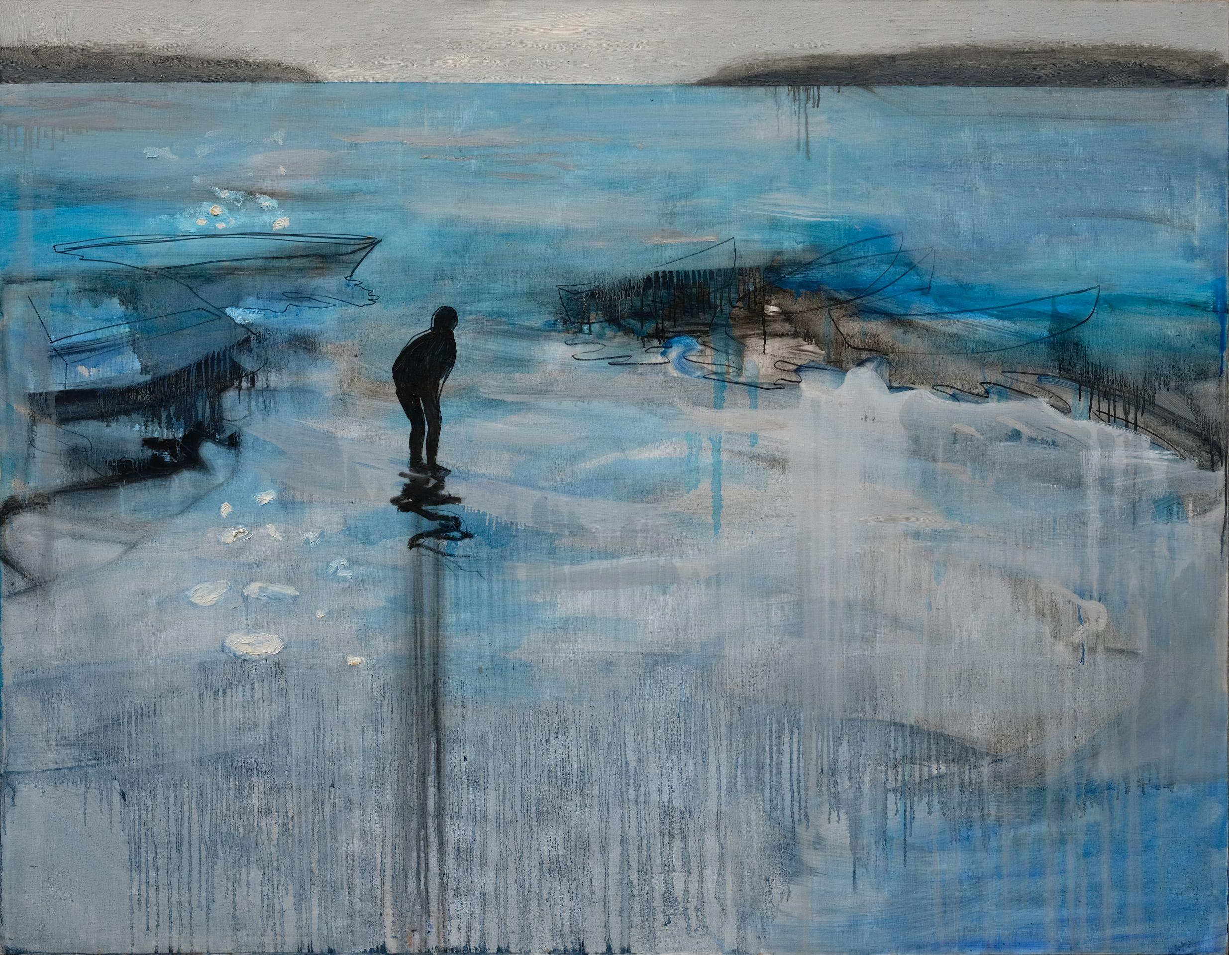 Boy In The Lake 1 - Large Format Landscape Oil Painting, Lake View, Expression