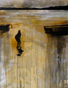 Boy In The Lake 2 - Contemporary Landscape Oil Painting, Lake View, Expression
