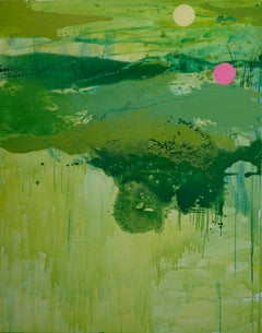 A Croaking Frogs - Modern Landscape Oil Painting, Lake View, Nature, Green Tones