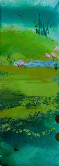Pink Flamingos - Modern Landscape Oil Painting, Lake View, Nature, Green Tones