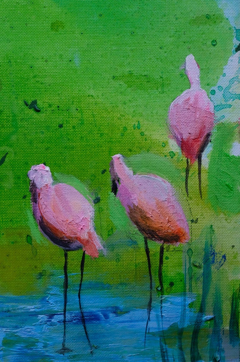 Pink Flamingos - Modern Landscape Oil Painting, Lake View, Nature, Green Tones For Sale 3