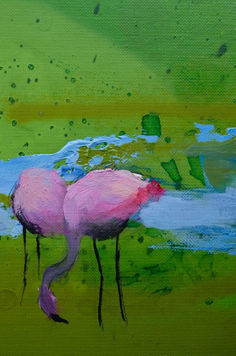 Pink Flamingos - Modern Landscape Oil Painting, Lake View, Nature, Green Tones For Sale 4