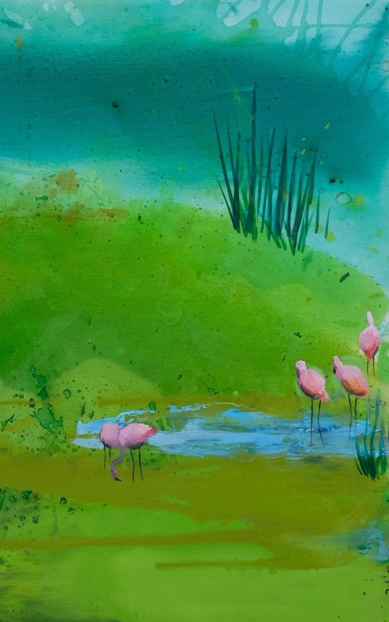 Pink Flamingos - Modern Landscape Oil Painting, Lake View, Nature, Green Tones For Sale 1