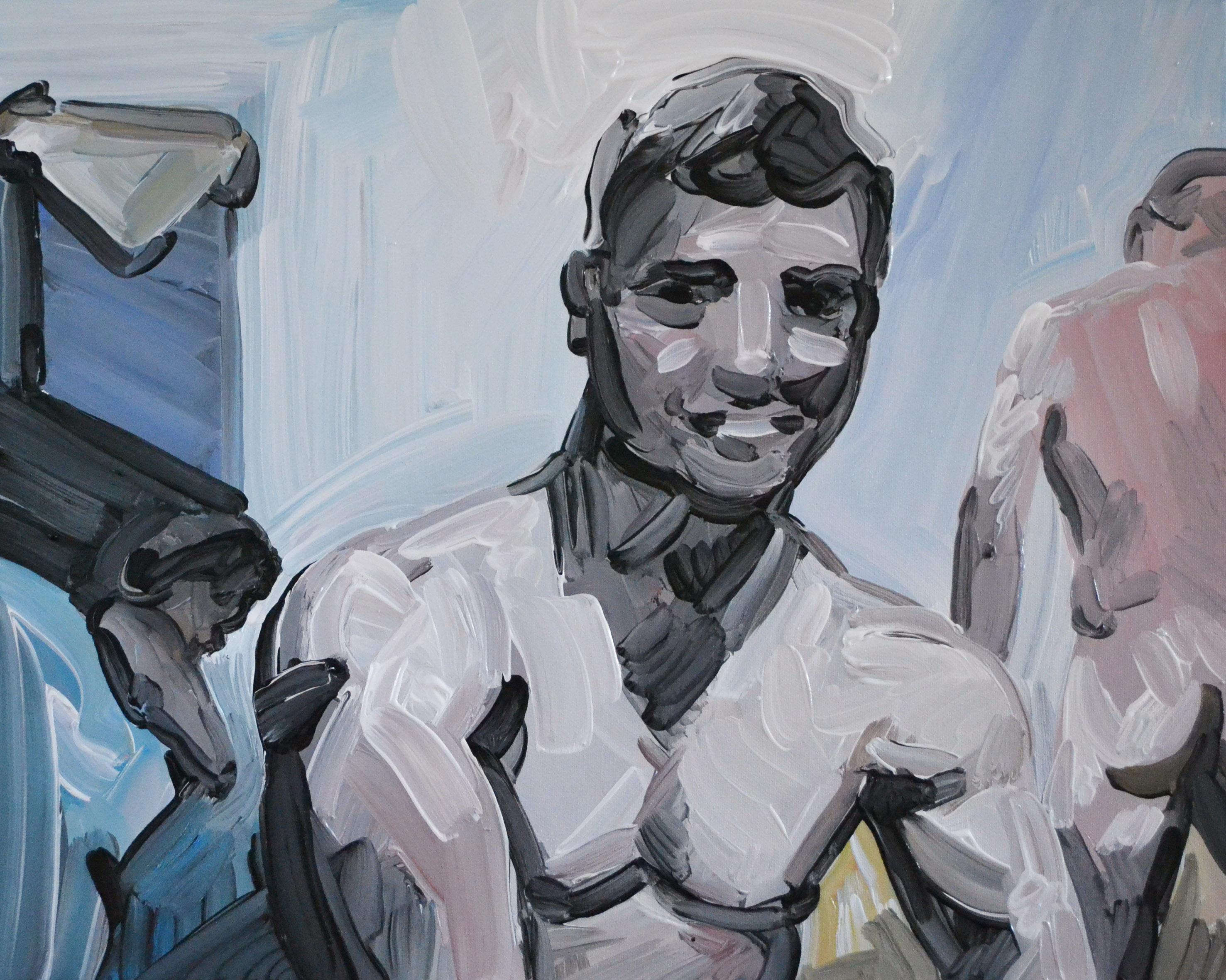 Camera 5 - Contemporary Expressive Figurative Oil Painting, Men Nude, Erotic