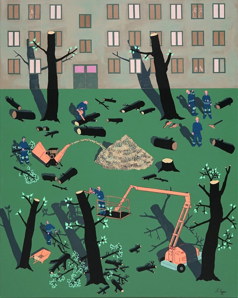 Michał Cygan Figurative Painting - Deforestation - Polish Young Art,  Contemporary Abstract Painting, Street Art