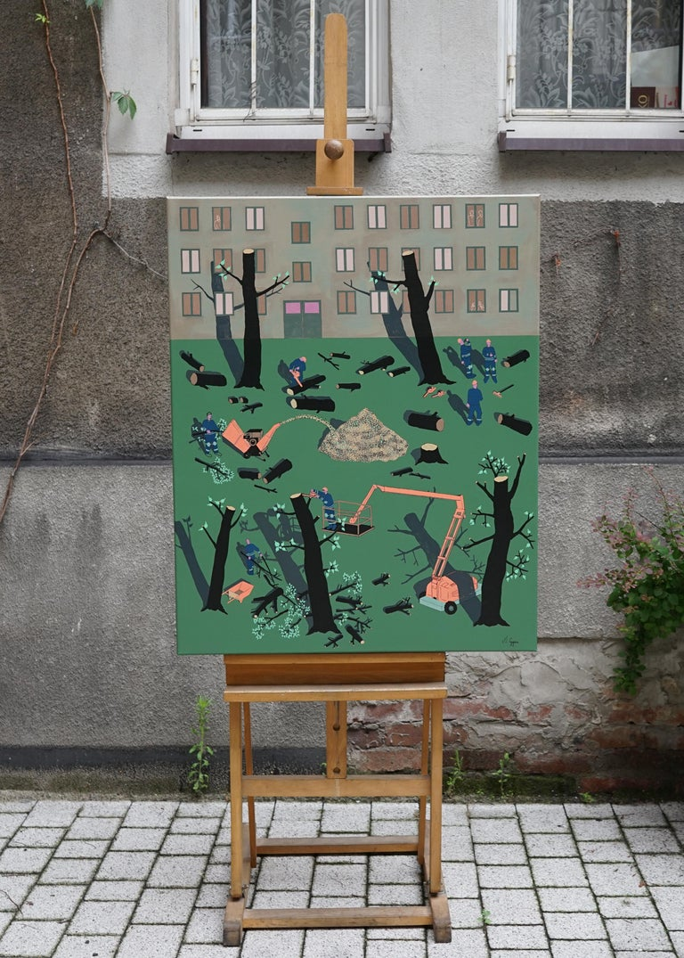 Deforestation - Polish Young Art,  Contemporary Abstract Painting, Street Art For Sale 3