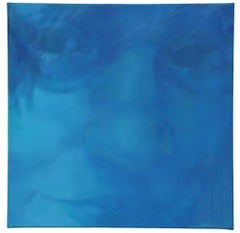 Frame II - Contemporary Figurative Portrait Painting, Abstract, Woman Face, Blue