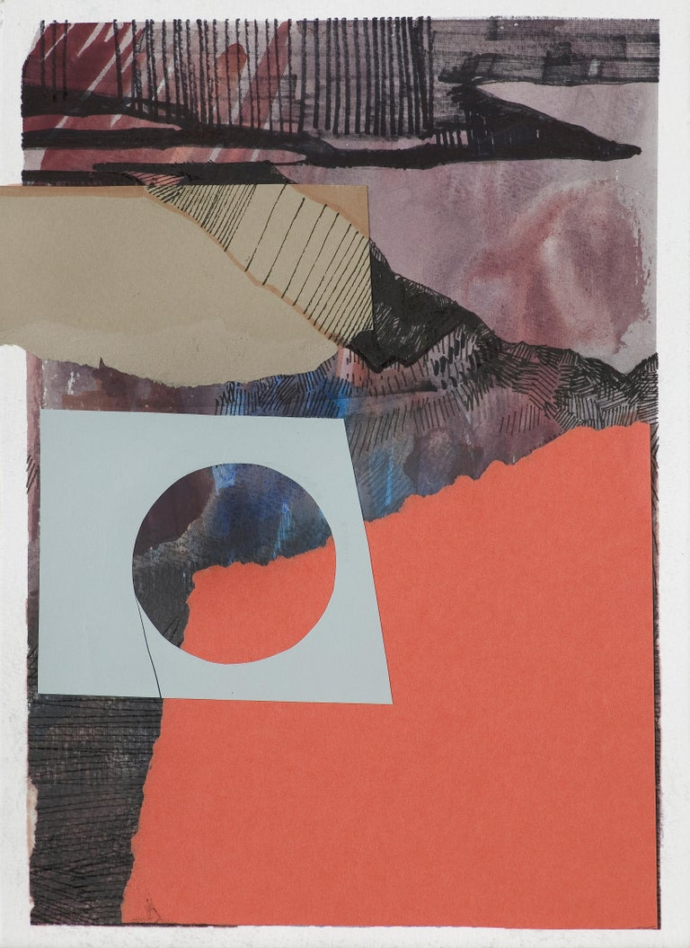 Monika Stolarska Abstract Drawing - Composition 4 - Collage and Painting On Paper