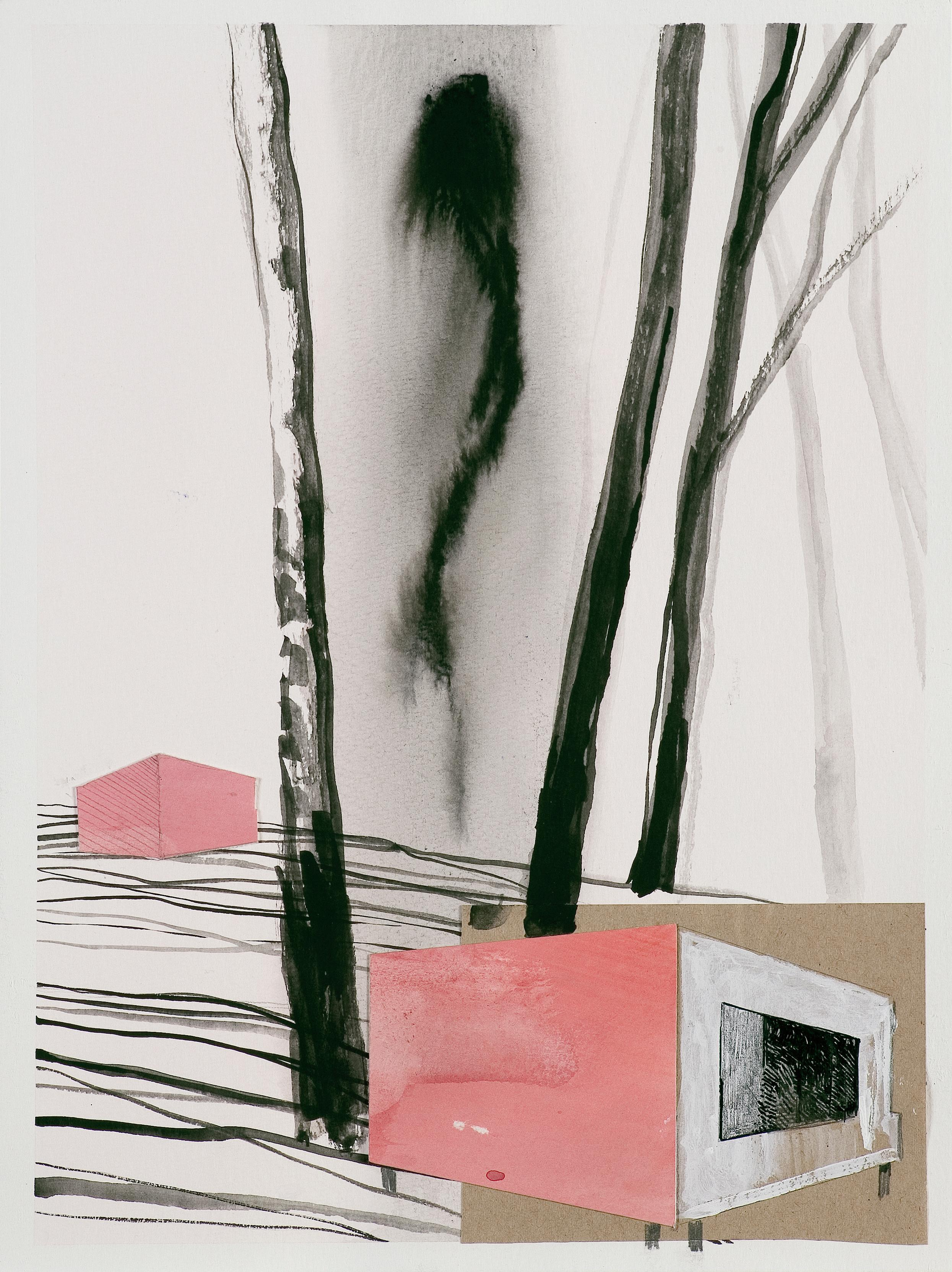 Rynia 1 - Collage and Painting On Paper, Architectural Landscape With Birch-Tree