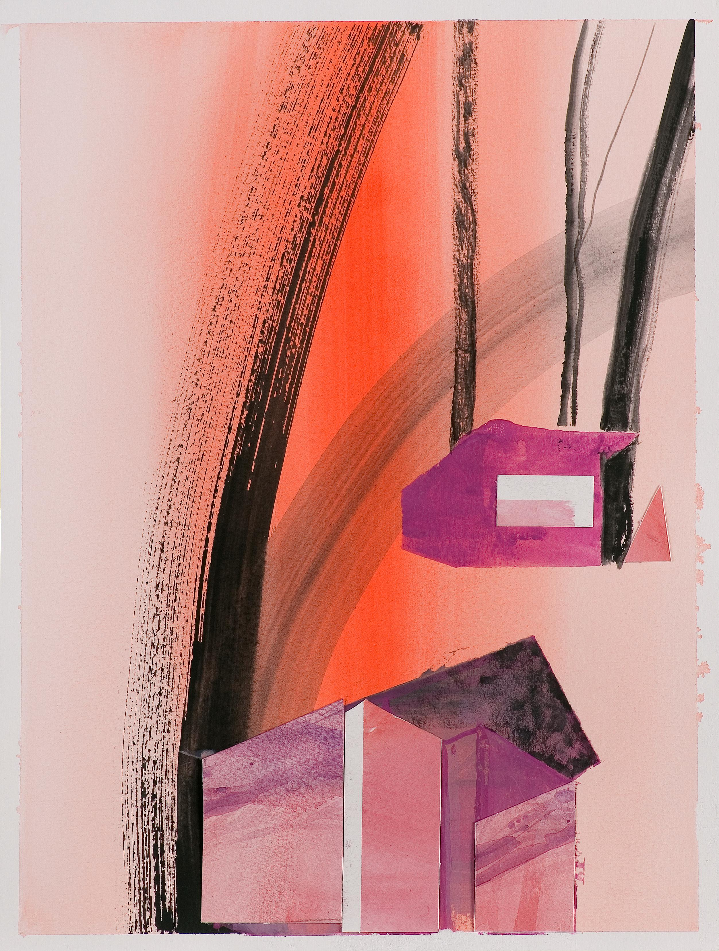 Rynia 3 - Collage and Painting On Paper, Architectural Landscape With Birch-Tree