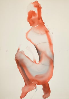 Male Nude - Contemporary Figurative Watercolor Painting, New Expressionism