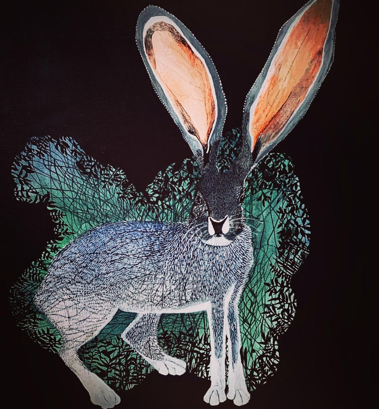 Aleksandra Bujnowska Animal Painting - Rabbit 2 - Contemporary Figurative Animals Oil Painting, Magical Realism, Nature