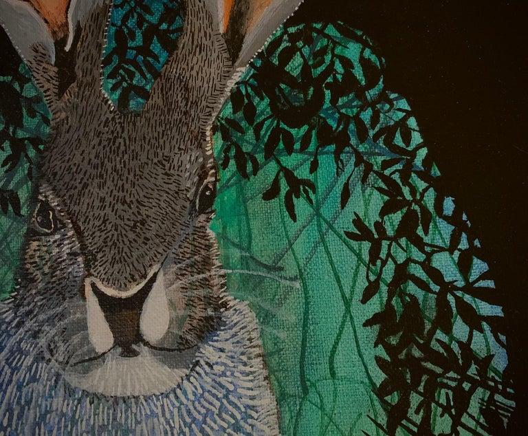 Rabbit 2 - Contemporary Figurative Animals Oil Painting, Magical Realism, Nature - Black Animal Painting by Aleksandra Bujnowska