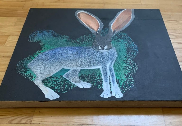 Rabbit 2 - Contemporary Figurative Animals Oil Painting, Magical Realism, Nature For Sale 1