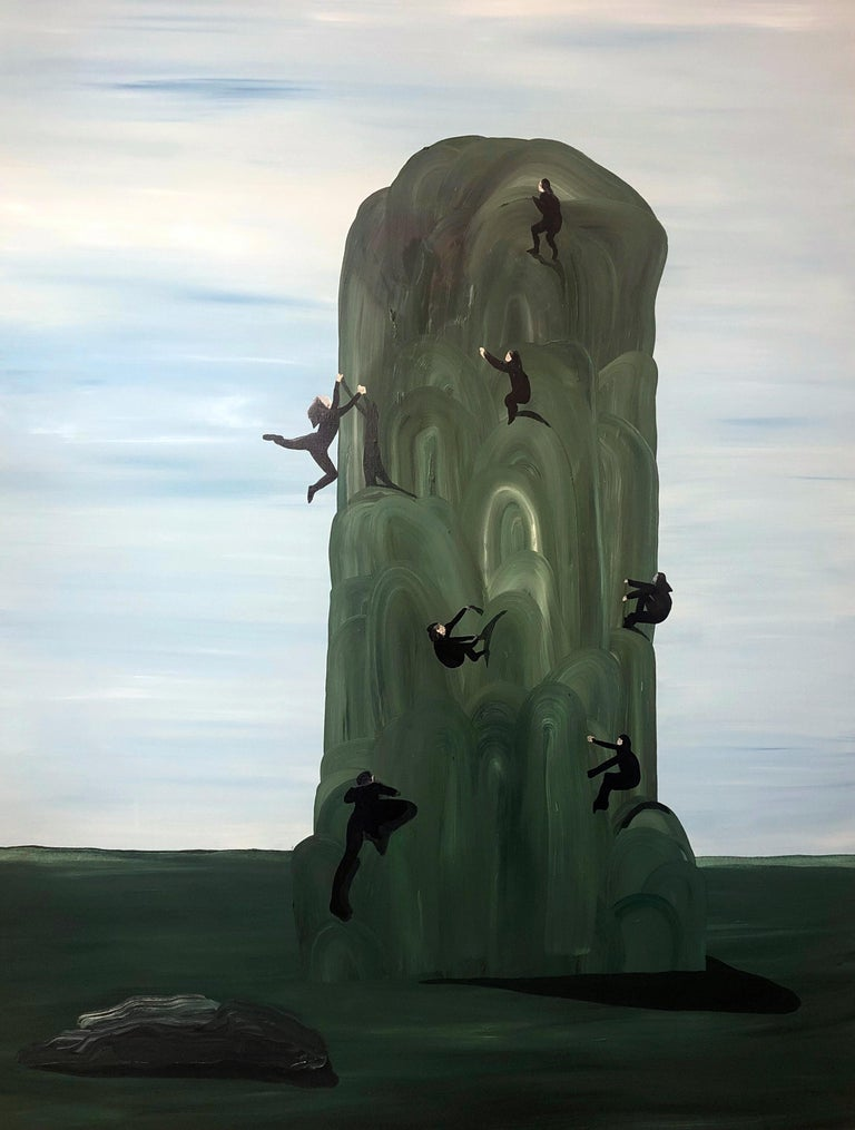 Natalia Bażowska Landscape Painting - Climbers - Contemporary Figurative Painting,  Expressive Landscape with People