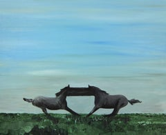 Morning - Contemporary Figurative Painting, Expressive Landscape, Horses