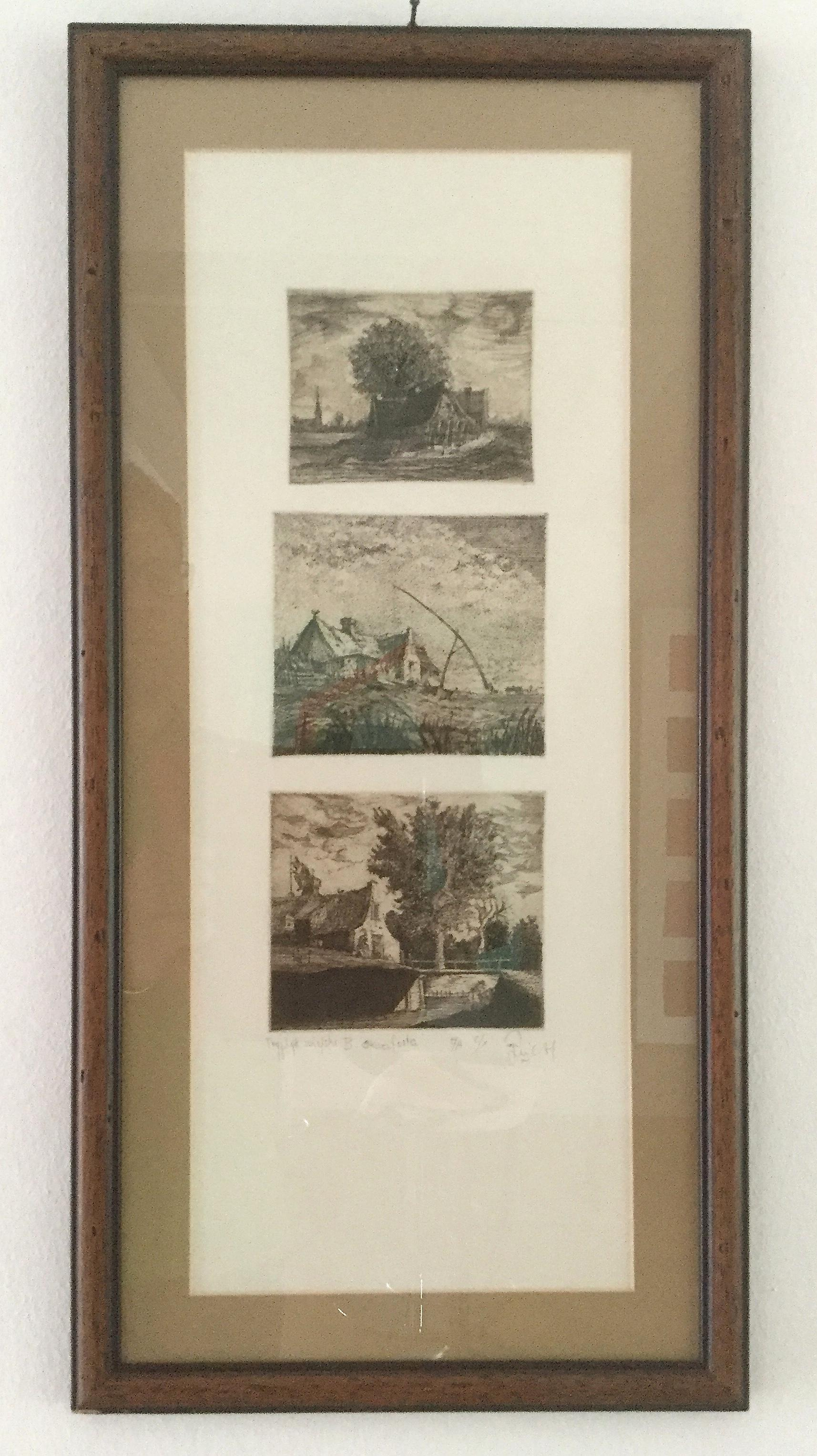Village Triptych - XX century, Figurative Etching Print, very small edition 2/X