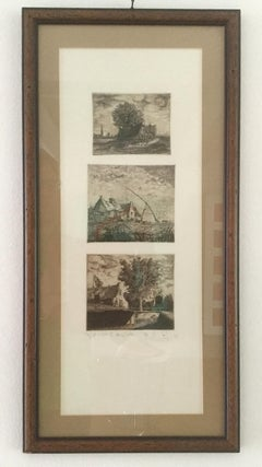 Village Triptych - XX century, Figurative Etching Print, very small edition 2/X