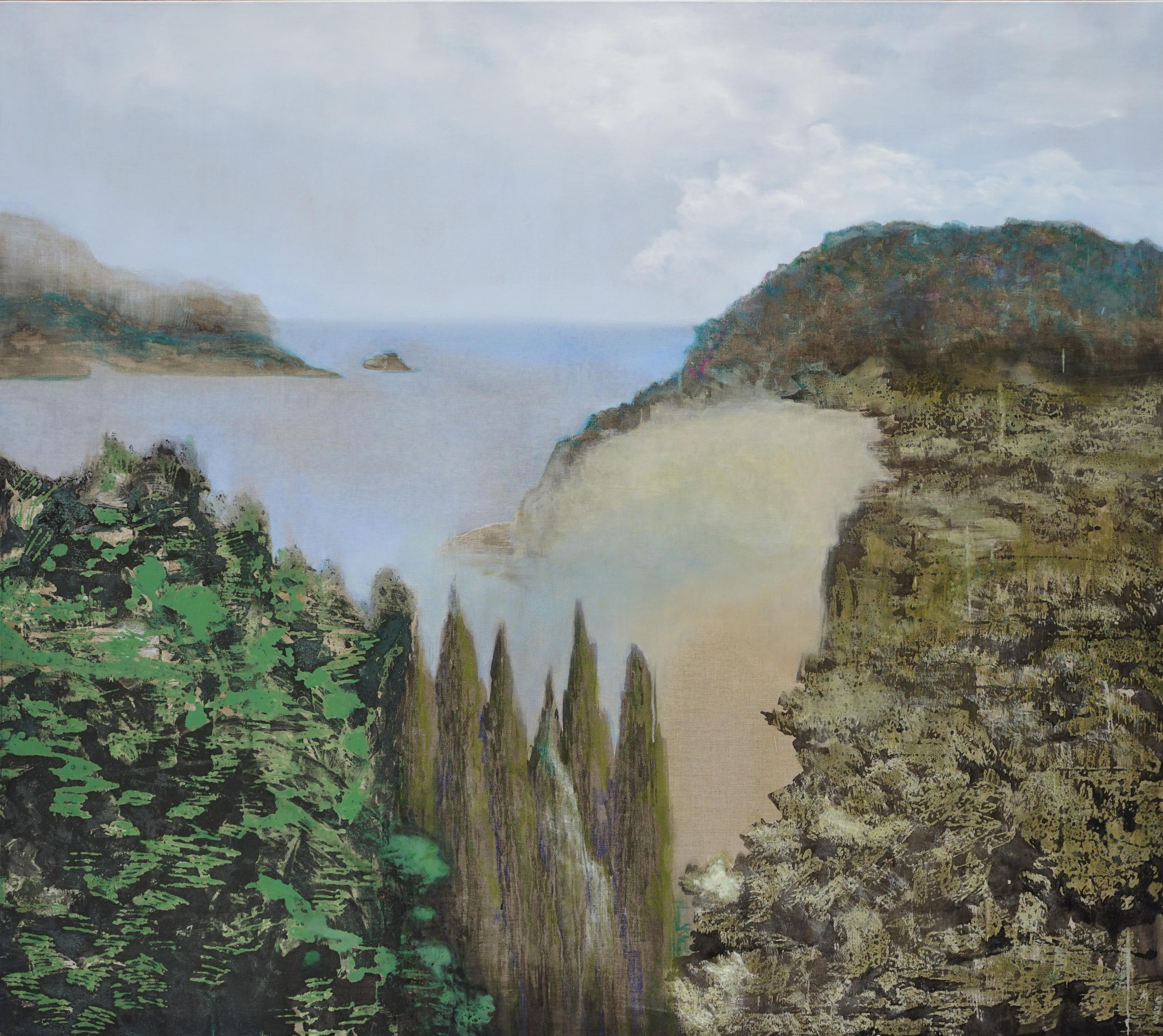 Cypresses - Large Format Contemporary Nature Oil Painting, Landscape, Sea Bay