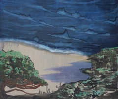 Cedar -  Contemporary Nature Oil Painting, Landscape, Sea View, Bay View