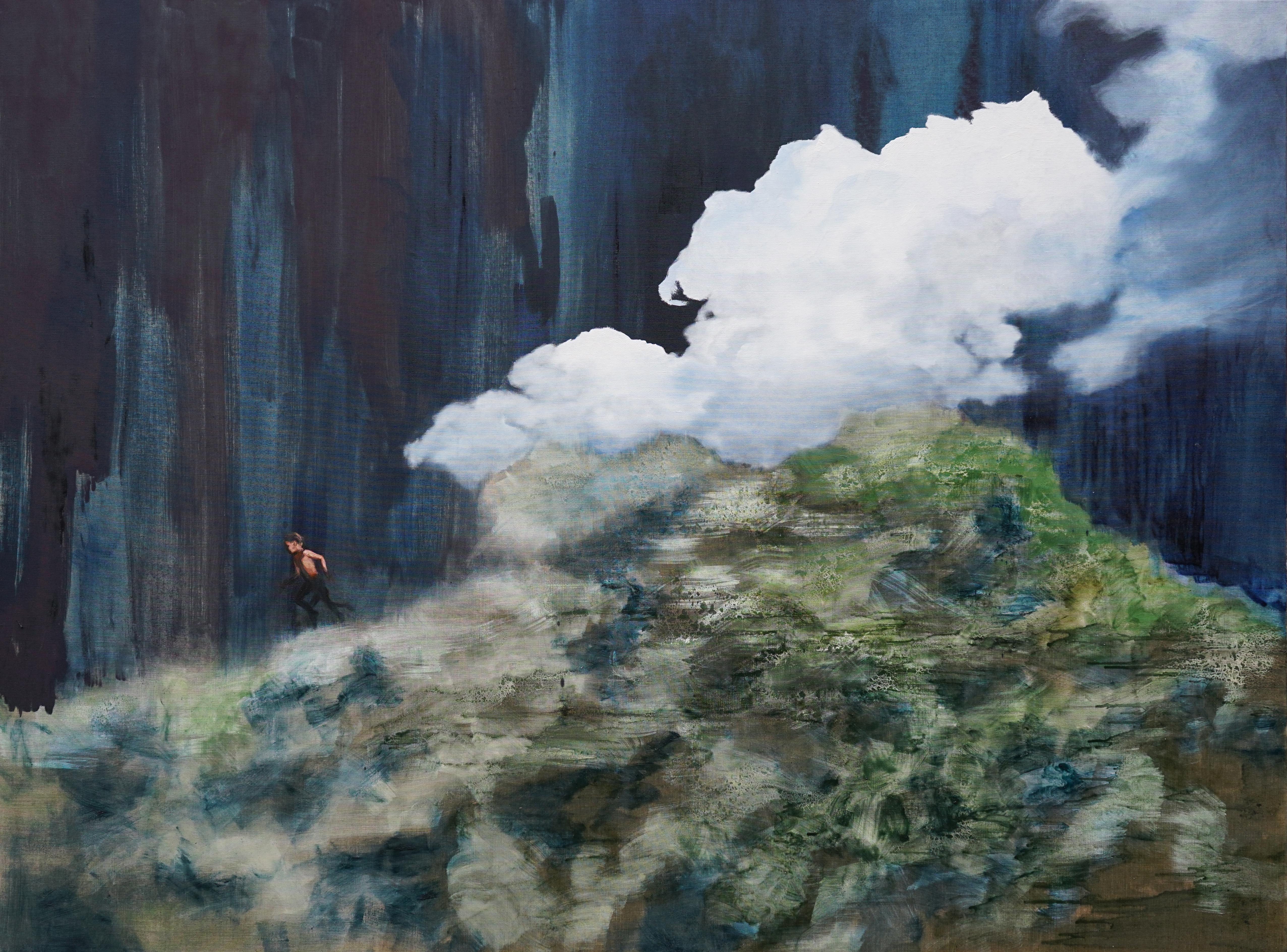 Escape - Large Format Contemporary Nature Oil Painting, Landscape, Mountains